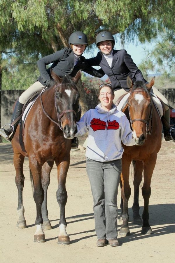 Mrs.+Stafford+poses+with+the+former+GHS+equestrian+team.