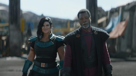 Gina Carano is Cara Dune and Carl Weathers is Greef Karga in Lucasfilm