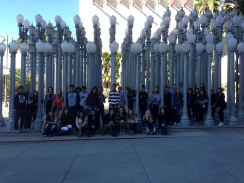 Ms. Shiroyan, Ms. Bedrousi, Ms. Masouris, and their art students, pose in front of the LA County Museum of Art during simpler times